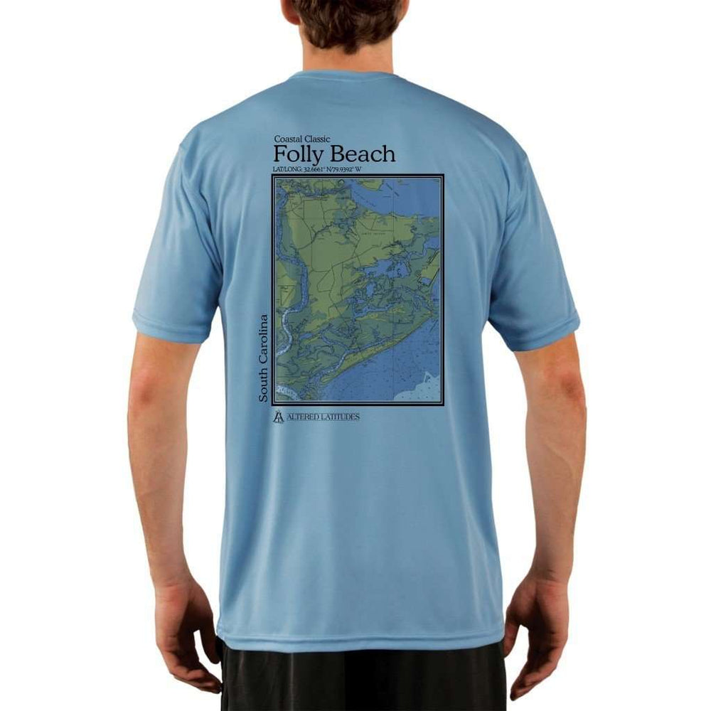 Coastal Classics Folly Beach Mens Upf 5+ Uv/sun Protection Performance T-Shirt Columbia Blue / X-Small Shirt