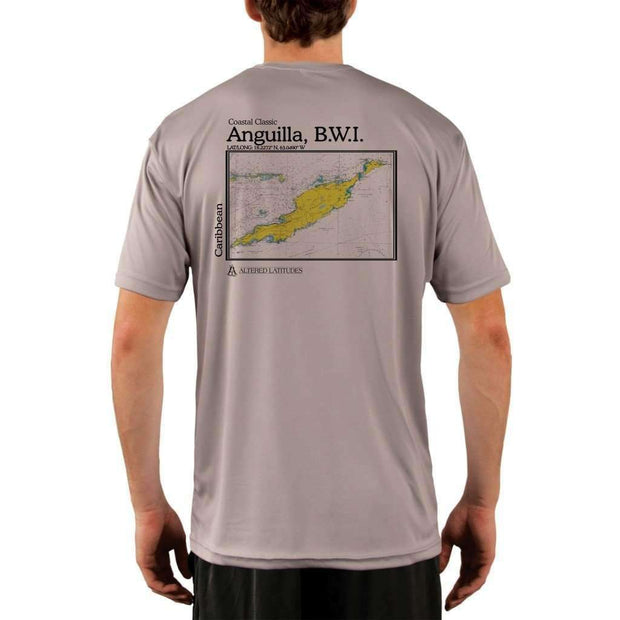 Coastal Classics Anguilla B.w.i. Mens Upf 5+ Uv/sun Protection Performance T-Shirt Athletic Grey / X-Small Shirt