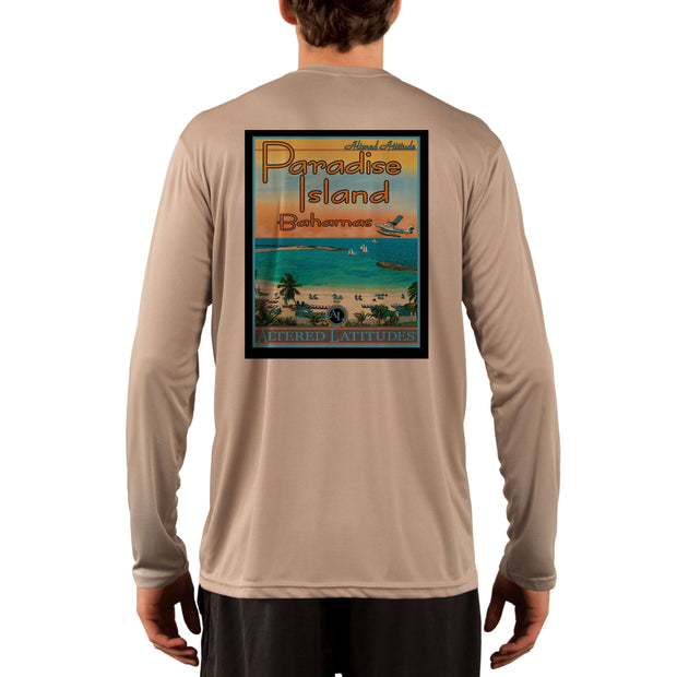 Vintage Destination Paradise Island Men's UPF 5+ UV Sun Protection Long Sleeve T-Shirt - Altered Latitudes