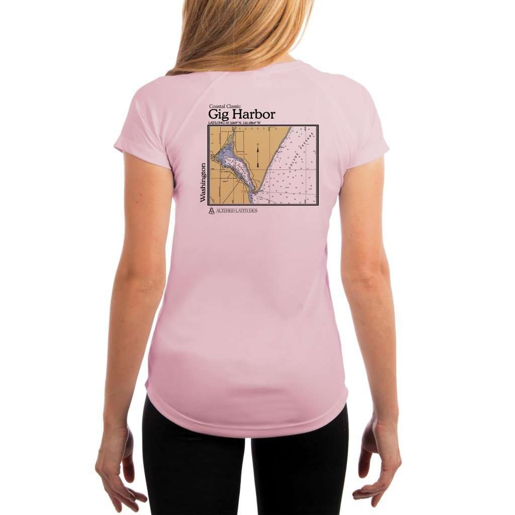 Coastal Classics Gig Harbor Womens Upf 50+ Uv/sun Protection Performance T-Shirt Pink Blossom / X-Small Shirt