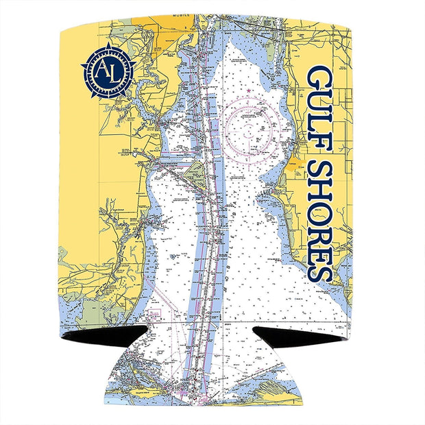 Altered Latitudes Gulf Shores Chart Standard Can Cooler (4-Pack)