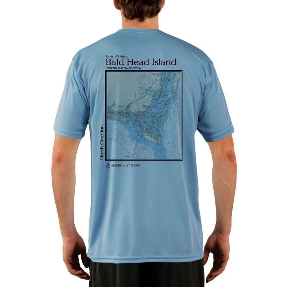 Coastal Classics Bald Head Island Mens Upf 5+ Uv/sun Protection Performance T-Shirt Columbia Blue / X-Small Shirt
