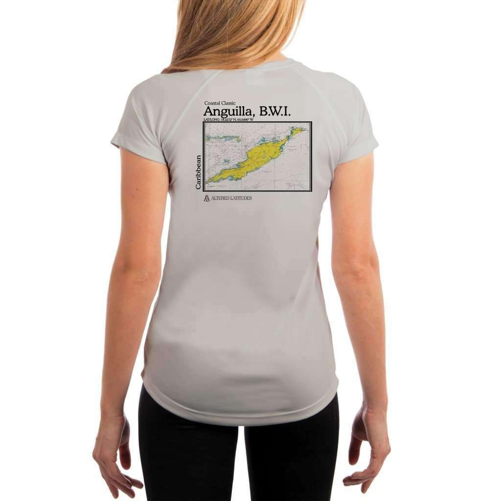 Coastal Classics Anguilla B.w.i. Womens Upf 50+ Uv/sun Protection Performance T-Shirt Pearl Grey / X-Small Shirt