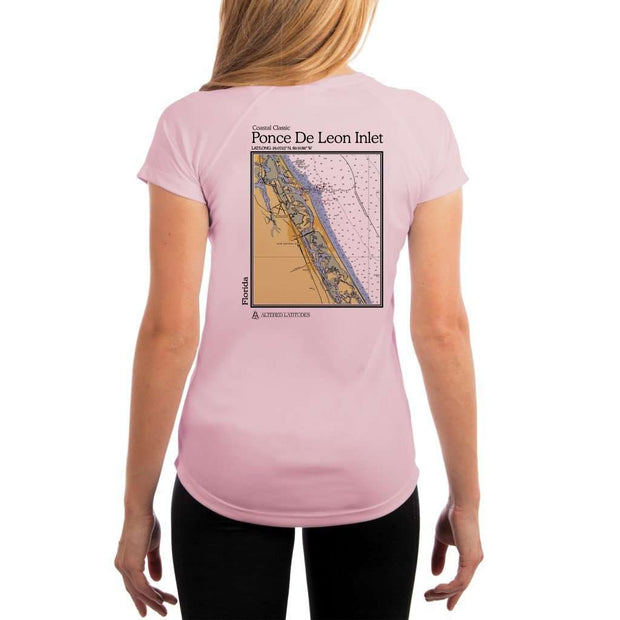 Coastal Classics Ponce De Leon Inlet Womens Upf 5+ Uv/sun Protection Performance T-Shirt Pink Blossom / X-Small Shirt