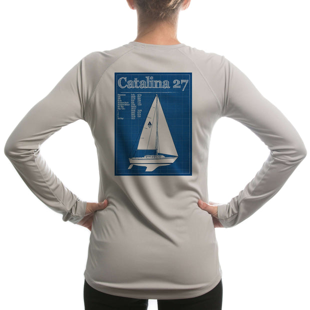 Catalina 27 Class Sailboat Womens Upf 5+ Uv/sun Protection Long Sleeve T-Shirt Large / Athletic Grey Shirt