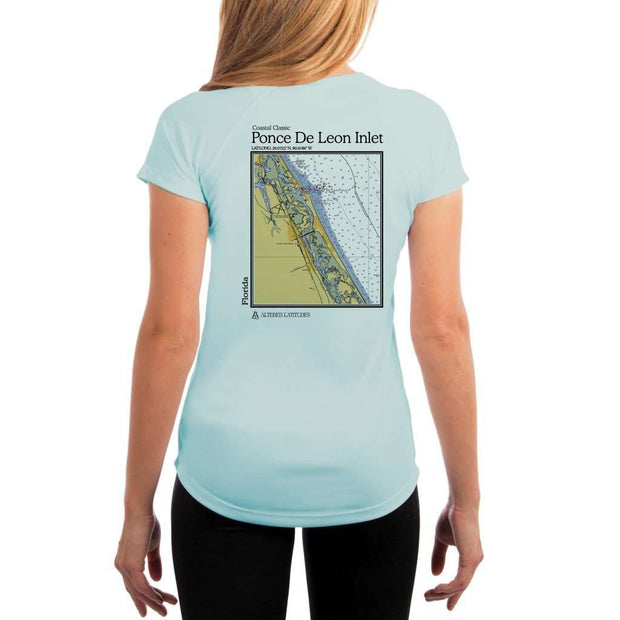 Coastal Classics Ponce De Leon Inlet Womens Upf 5+ Uv/sun Protection Performance T-Shirt Arctic Blue / X-Small Shirt