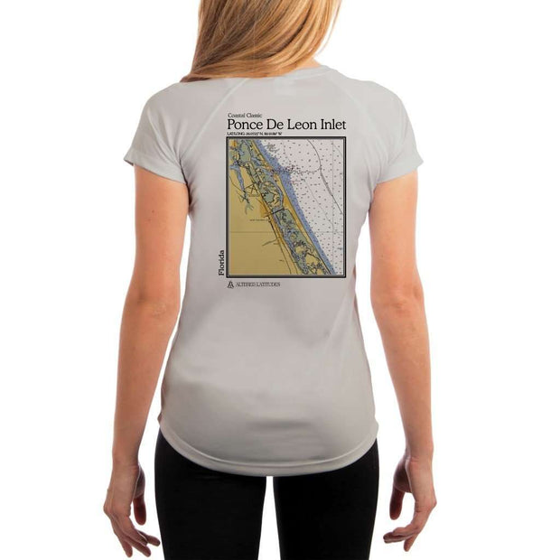 Coastal Classics Ponce De Leon Inlet Womens Upf 5+ Uv/sun Protection Performance T-Shirt Pearl Grey / X-Small Shirt