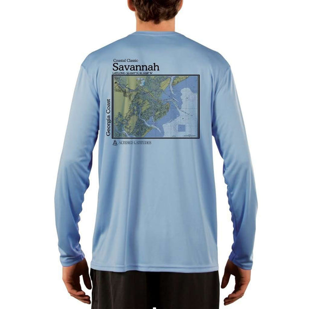Coastal Classics Savannah Georgia Coast Mens Upf 5+ Uv/sun Protection Performance T-Shirt Columbia Blue / X-Small Shirt