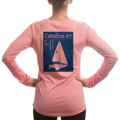 470 Olympic Class Sailboat Blue Women's UPF 50+ Long Sleeve T-shirt