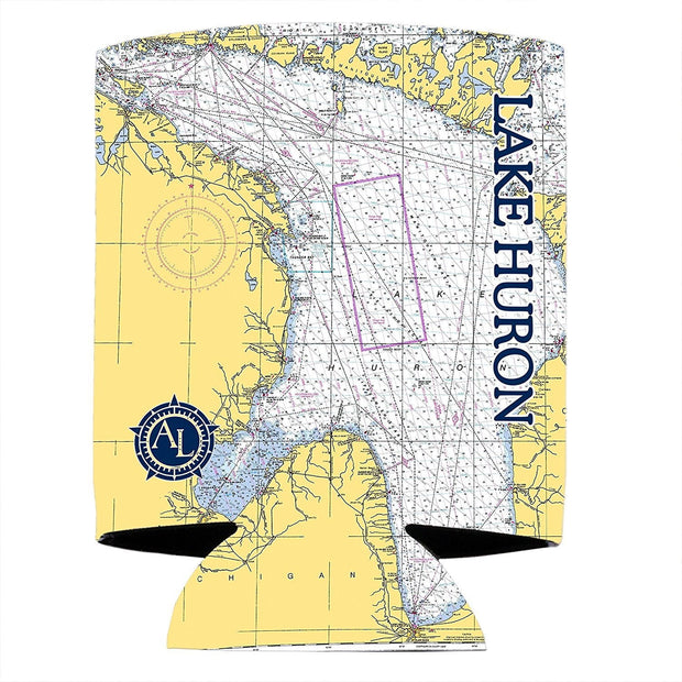 Altered Latitudes Lake Huron Chart Standard Can Cooler (4-Pack)