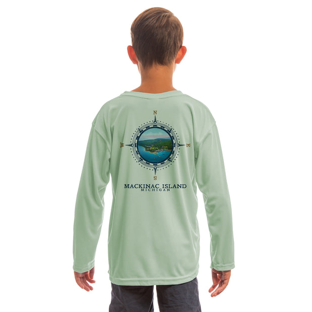 Compass Vintage Mackinac Island Youth UPF 50+ UV/Sun Protection Long Sleeve T-Shirt