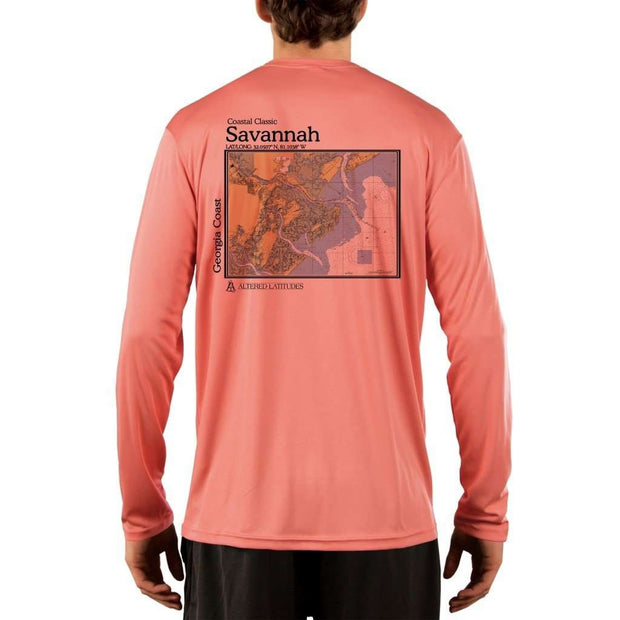 Coastal Classics Savannah Georgia Coast Mens Upf 5+ Uv/sun Protection Performance T-Shirt Salmon / X-Small Shirt