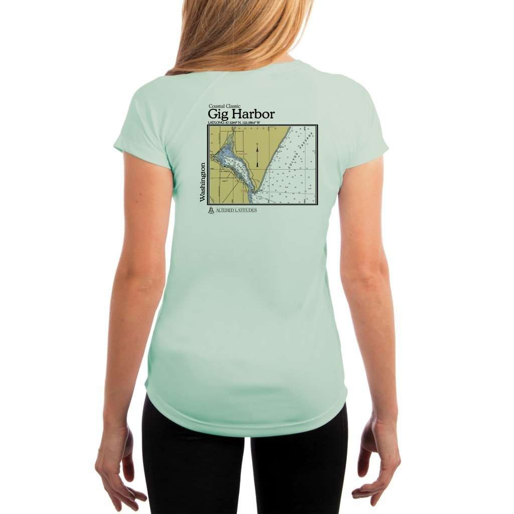 Coastal Classics Gig Harbor Womens Upf 50+ Uv/sun Protection Performance T-Shirt Seagrass / X-Small Shirt