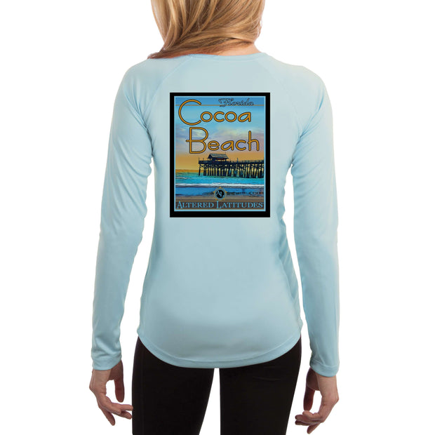Vintage Destination Cocoa Beach Women's UPF 50+ UV Sun Protection Long Sleeve T-shirt