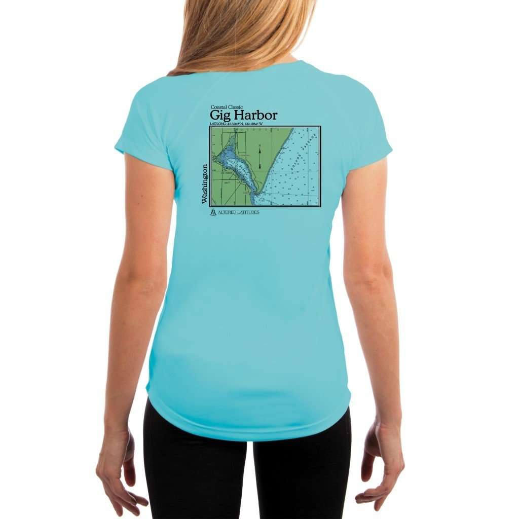 Coastal Classics Gig Harbor Womens Upf 50+ Uv/sun Protection Performance T-Shirt Water Blue / X-Small Shirt