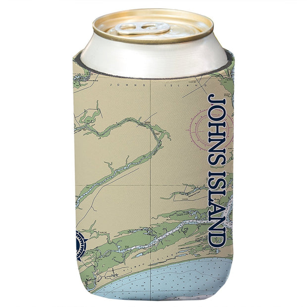 Altered Latitudes Johns Island Chart Standard Can Cooler (4-Pack)