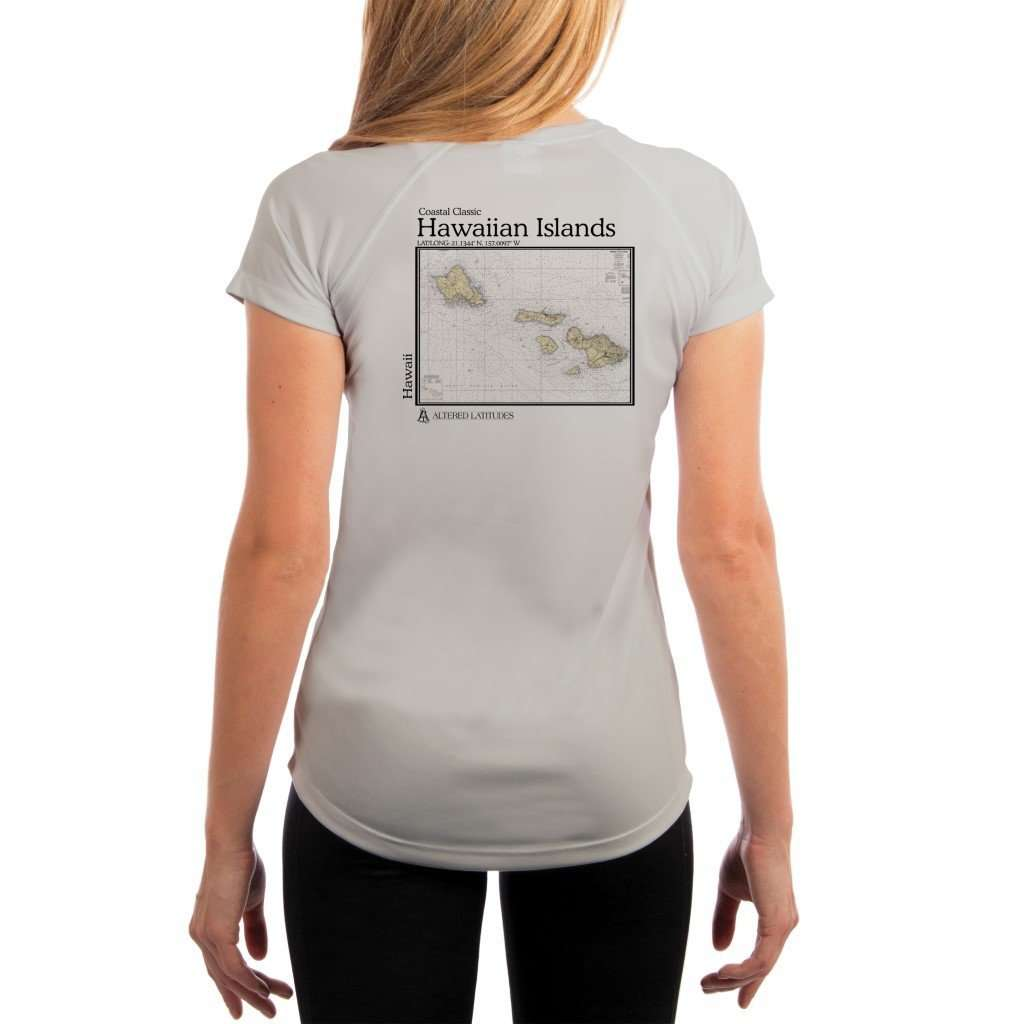 Coastal Classics Hawaiian Islands Womens Upf 50+ Uv/sun Protection Performance T-Shirt Pearl Grey / X-Small Shirt