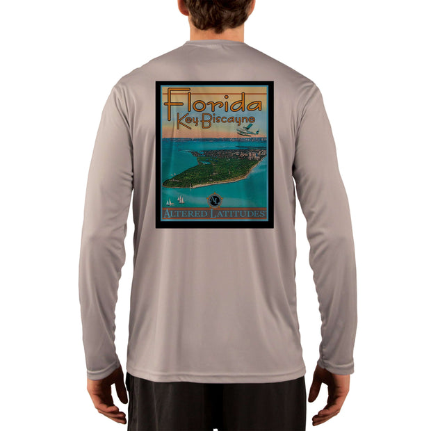 Vintage Destination Key Biscayne Men's UPF 50+ UV Sun Protection Long Sleeve T-Shirt