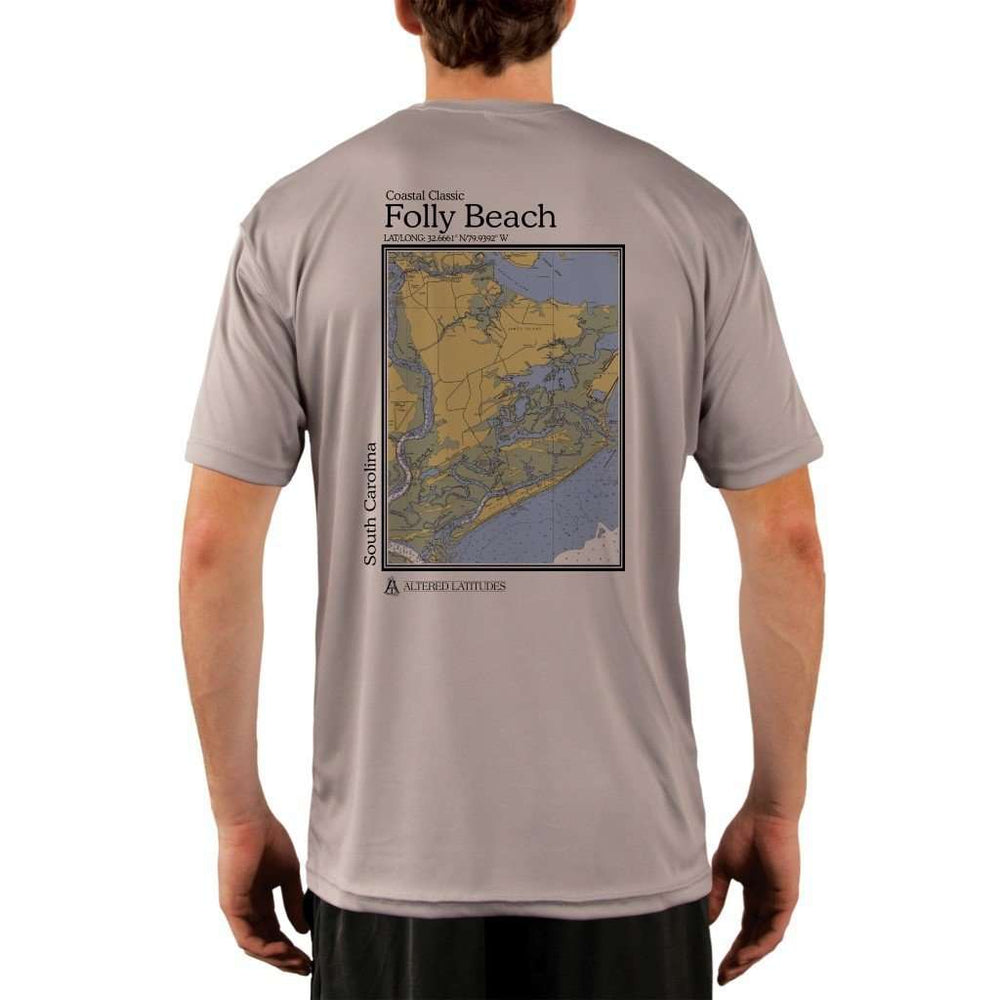 Coastal Classics Folly Beach Mens Upf 5+ Uv/sun Protection Performance T-Shirt Athletic Grey / X-Small Shirt