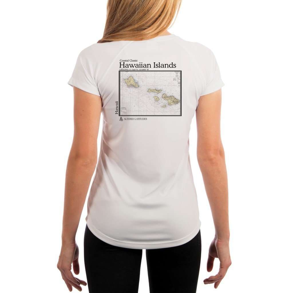Coastal Classics Hawaiian Islands Womens Upf 50+ Uv/sun Protection Performance T-Shirt White / X-Small Shirt