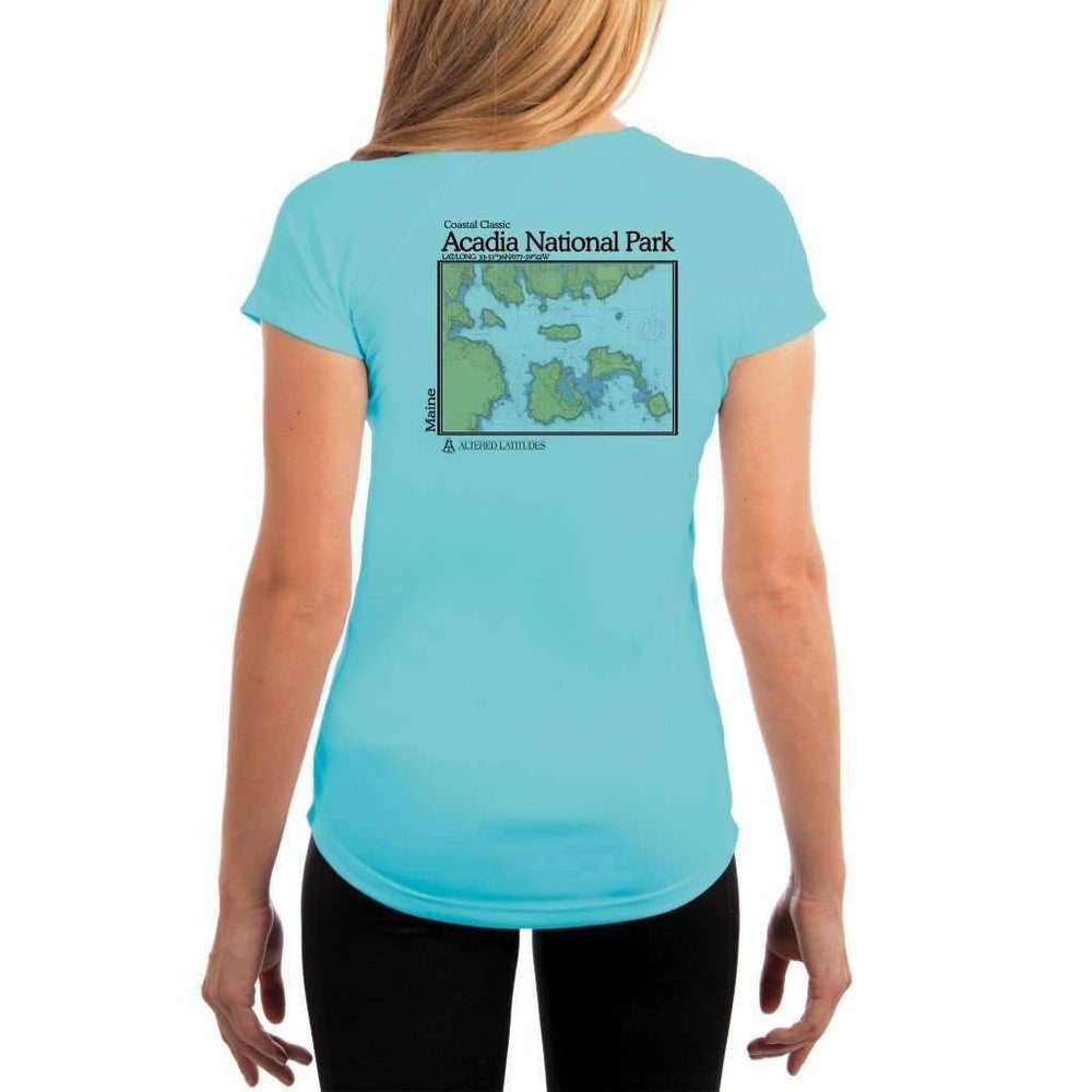 Coastal Classics Acadia National Park Womens Upf 5+ Uv/sun Protection Performance T-Shirt Water Blue / X-Small Shirt
