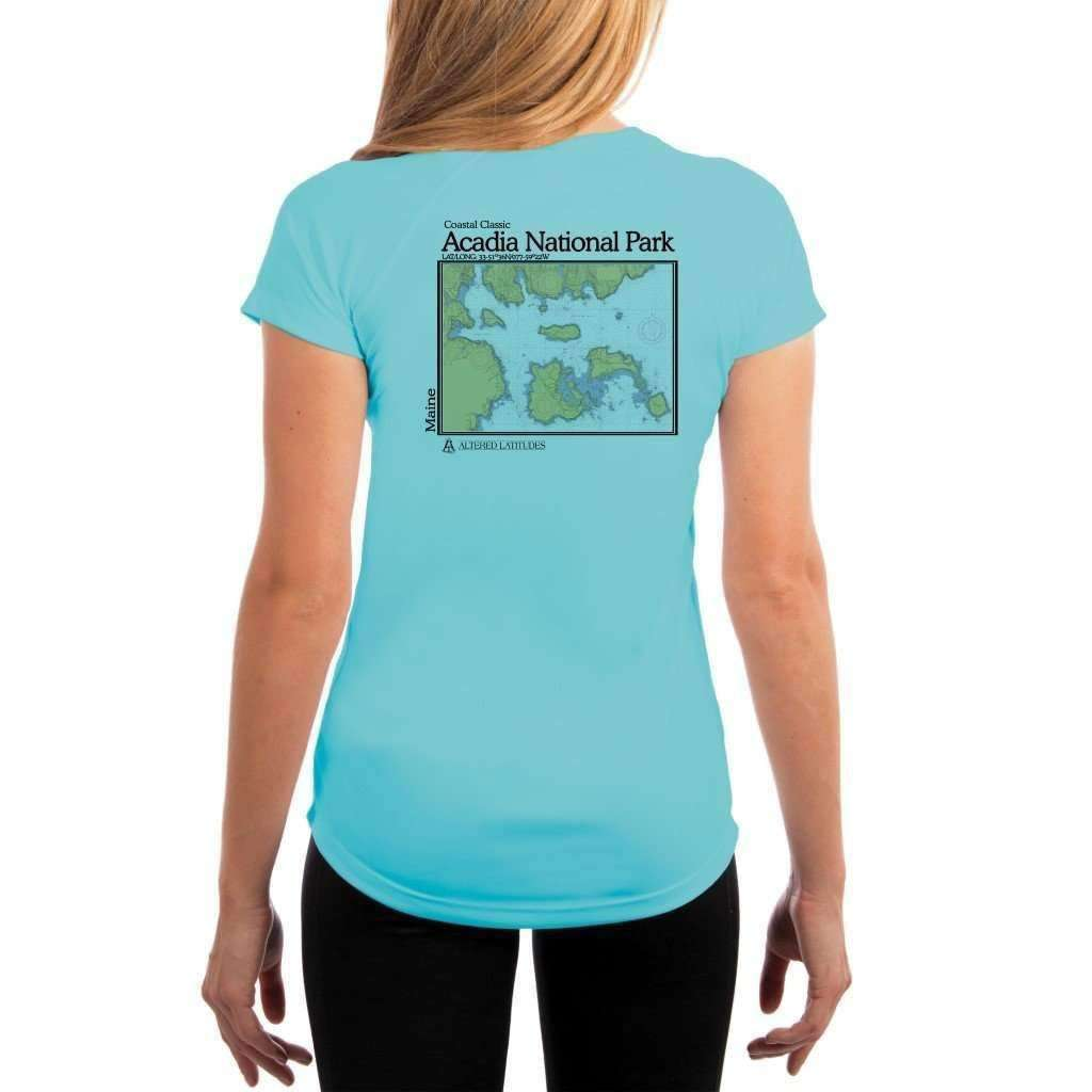 Coastal Classics Acadia National Park Womens Upf 50+ Uv/sun Protection Performance T-Shirt Water Blue / X-Small Shirt