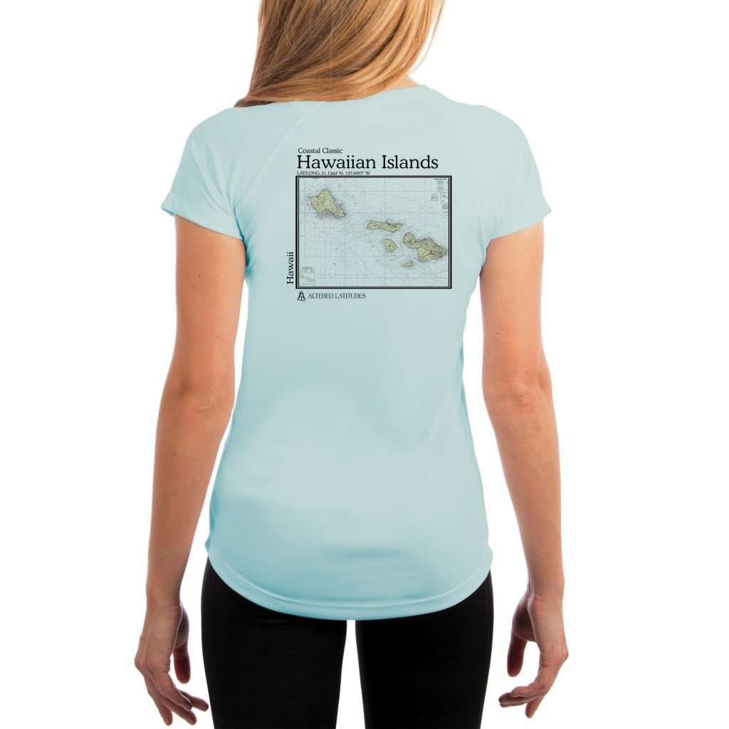 Coastal Classics Hawaiian Islands Womens Upf 50+ Uv/sun Protection Performance T-Shirt Arctic Blue / X-Small Shirt