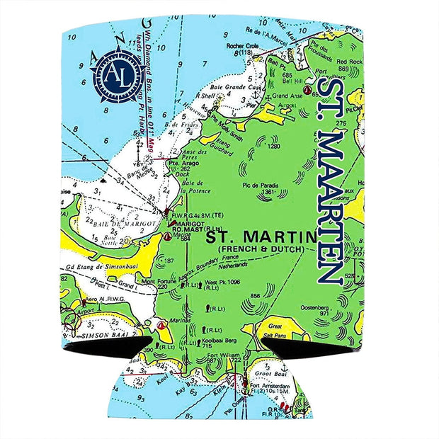 Altered Latitudes St Maarten Chart Standard Can Cooler (4-Pack)