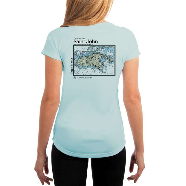 Coastal Classics Saint John Womens Upf 5+ Uv/sun Protection Performance T-Shirt Arctic Blue / X-Small Shirt