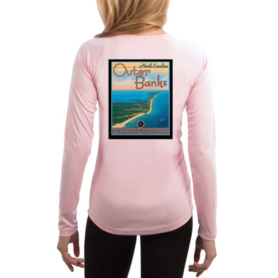 Vintage Destination Outer Banks Women's UPF 50+ UV Sun Protection Long Sleeve T-shirt