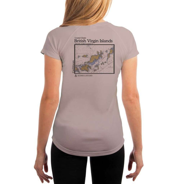 Coastal Classics British Virgin Islands Womens Upf 5+ Uv/sun Protection Performance T-Shirt Athletic Grey / X-Small Shirt