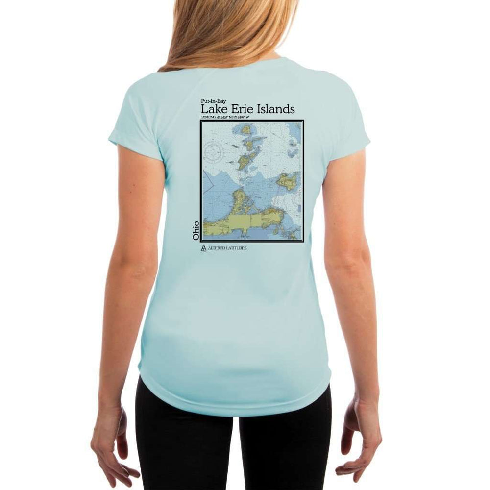 Coastal Classics Lake Erie Islands Womens Upf 5+ Uv/sun Protection Performance T-Shirt Arctic Blue / X-Small Shirt