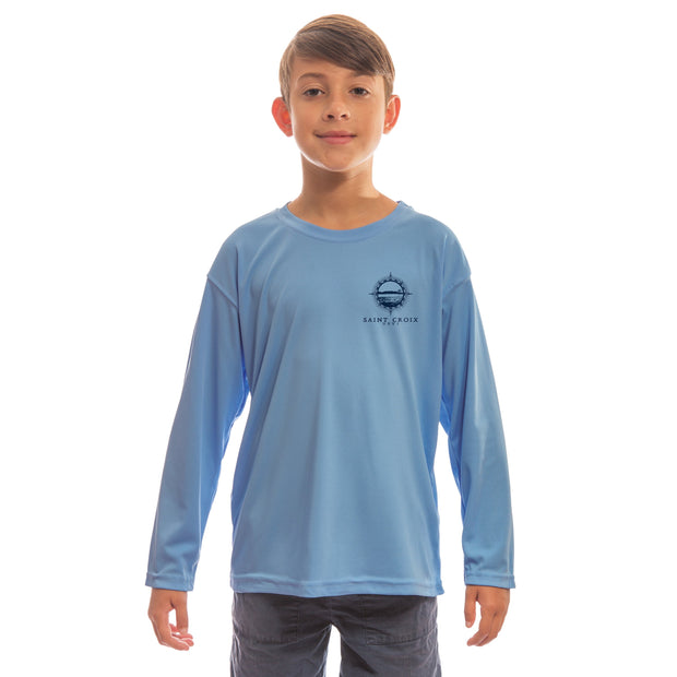Compass Vintage Saint Croix Youth UPF 50+ UV/Sun Protection Long Sleeve T-Shirt