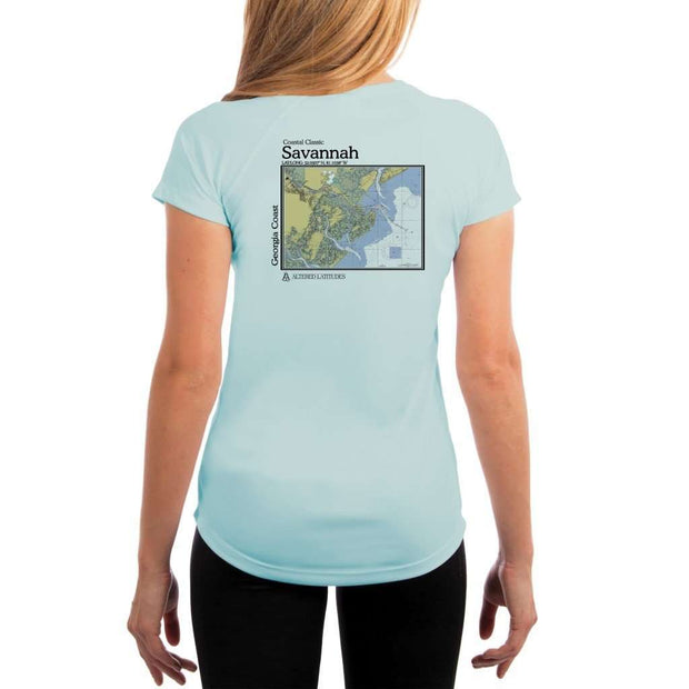 Coastal Classics Savannah Georgia Coast Womens Upf 5+ Uv/sun Protection Performance T-Shirt Arctic Blue / X-Small Shirt