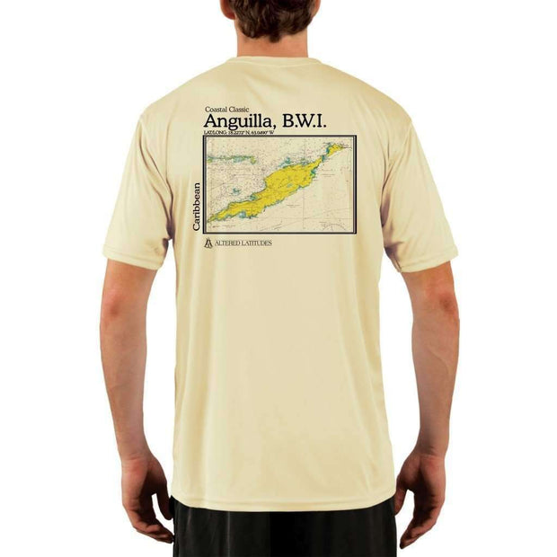 Coastal Classics Anguilla B.w.i. Mens Upf 5+ Uv/sun Protection Performance T-Shirt Pale Yellow / X-Small Shirt