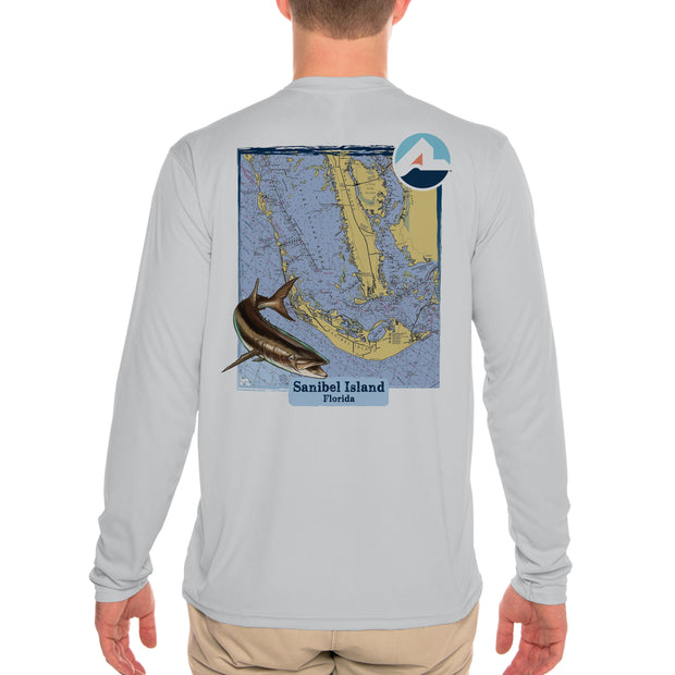 Fish Charts Sanibel Island Men's UPF 50+ Long Sleeve T-Shirt