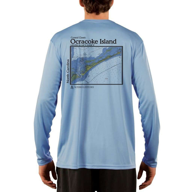 Coastal Classics Ocracoke Island Mens Upf 5+ Uv/sun Protection Performance T-Shirt Columbia Blue / X-Small Shirt