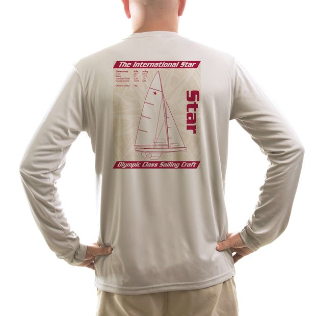 Star Olympic Class Sailboat Red Men's UPF 50+ Long Sleeve T-Shirt - Altered Latitudes