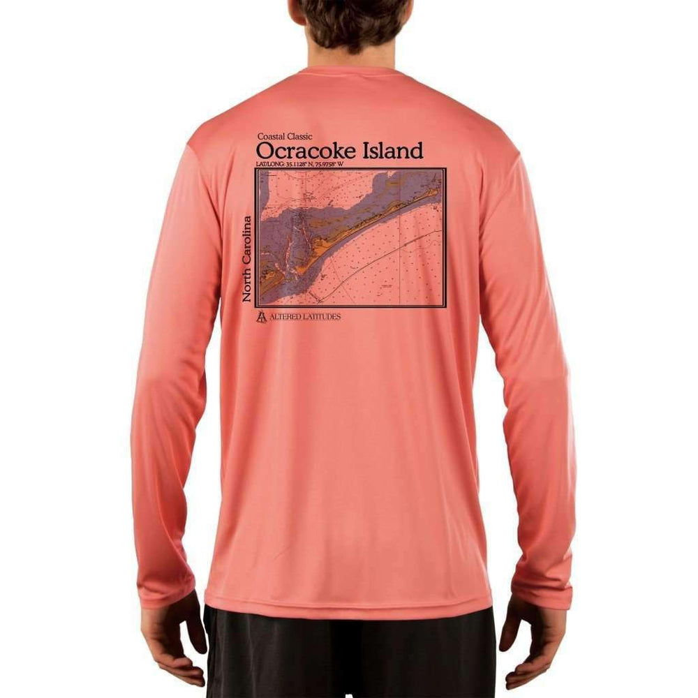 Coastal Classics Ocracoke Island Mens Upf 5+ Uv/sun Protection Performance T-Shirt Salmon / X-Small Shirt