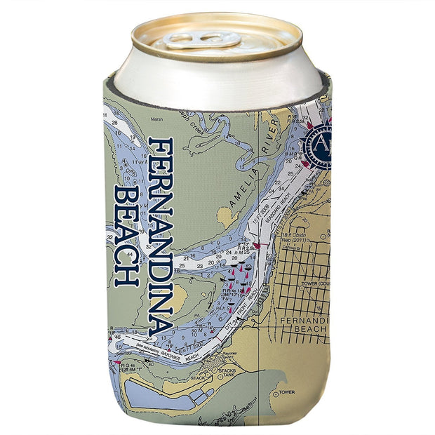 Altered Latitudes Fernandina Beach, FL Chart Standard Can Cooler (4-Pack)