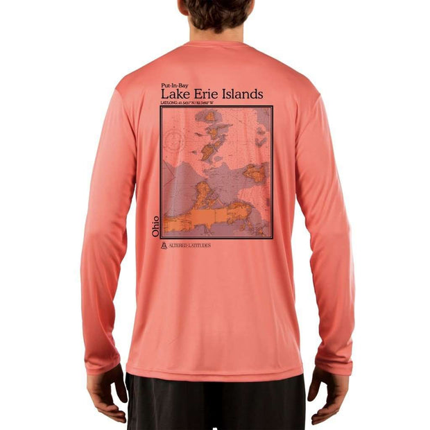 Coastal Classics Lake Erie Islands Mens Upf 5+ Uv/sun Protection Performance T-Shirt Salmon / X-Small Shirt