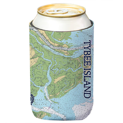 Altered Latitudes Tybee Island Chart Standard Beverage Cooler (4-Pack)