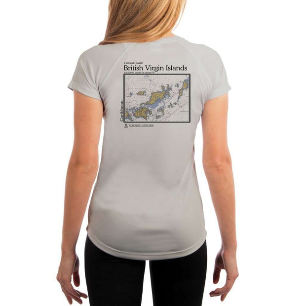 Coastal Classics British Virgin Islands Womens Upf 5+ Uv/sun Protection Performance T-Shirt Pearl Grey / X-Small Shirt