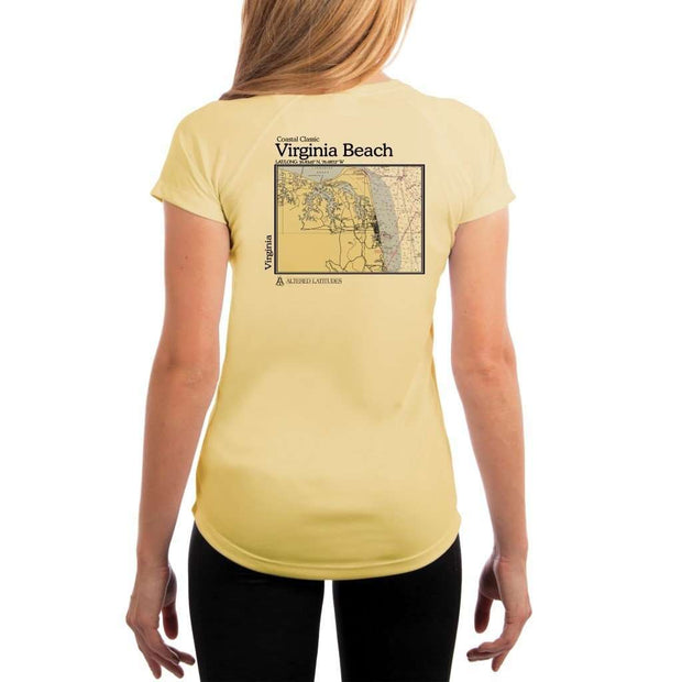 Coastal Classics Virginia Beach Womens Upf 5+ Uv/sun Protection Performance T-Shirt Pale Yellow / X-Small Shirt