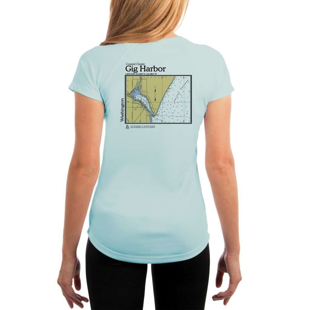 Coastal Classics Gig Harbor Womens Upf 50+ Uv/sun Protection Performance T-Shirt Arctic Blue / X-Small Shirt