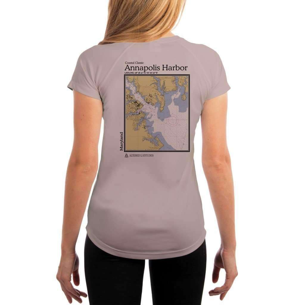 Coastal Classics Annapolis Harbor Womens Upf 50+ Uv/sun Protection Performance T-Shirt Athletic Grey / X-Small Shirt