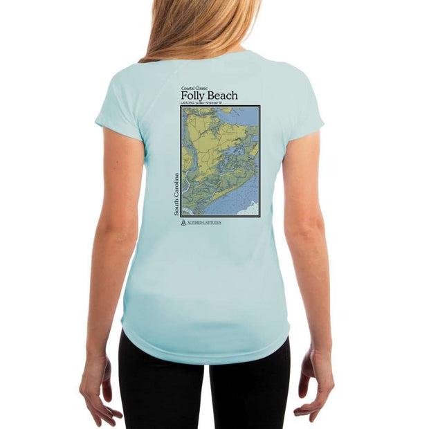 Coastal Classics Folly Beach Womens Upf 5+ Uv/sun Protection Performance T-Shirt Arctic Blue / X-Small Shirt