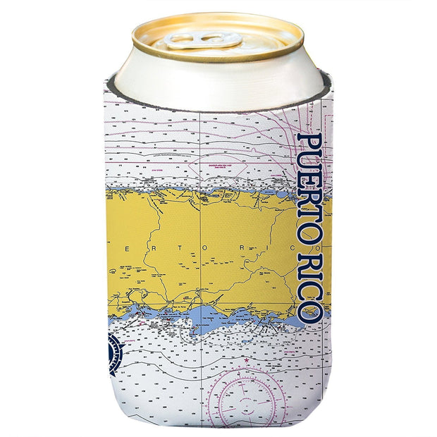 Altered Latitudes Puerto Rico Chart Standard Can Cooler (4-Pack)