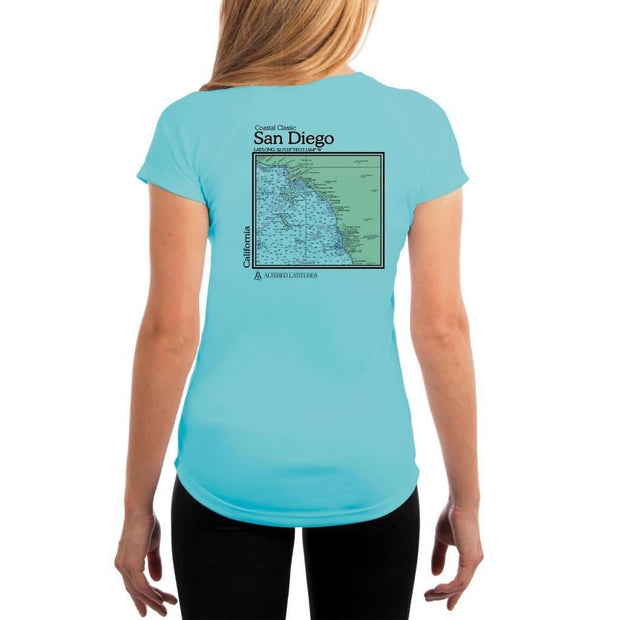 Coastal Classics San Diego Womens Upf 5+ Uv/sun Protection Performance T-Shirt Water Blue / X-Small Shirt