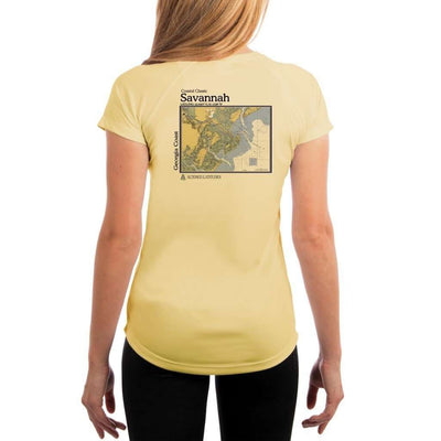 Coastal Classics Savannah Georgia Coast Womens Upf 5+ Uv/sun Protection Performance T-Shirt Pale Yellow / X-Small Shirt